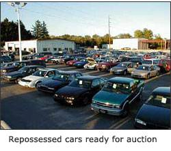 Image of repossessed cars ready for auction