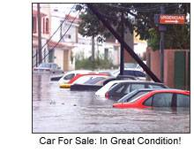 Image of flood damaged cars